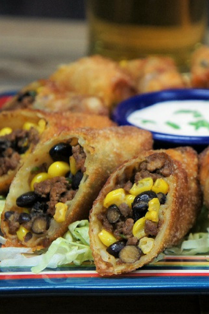 Filled With Seasoned Ground Beef Black Beans And Corn These Southwestern Egg Rolls Are Super Flavorful Party Food Appetizers Southwestern Egg Rolls Egg Rolls