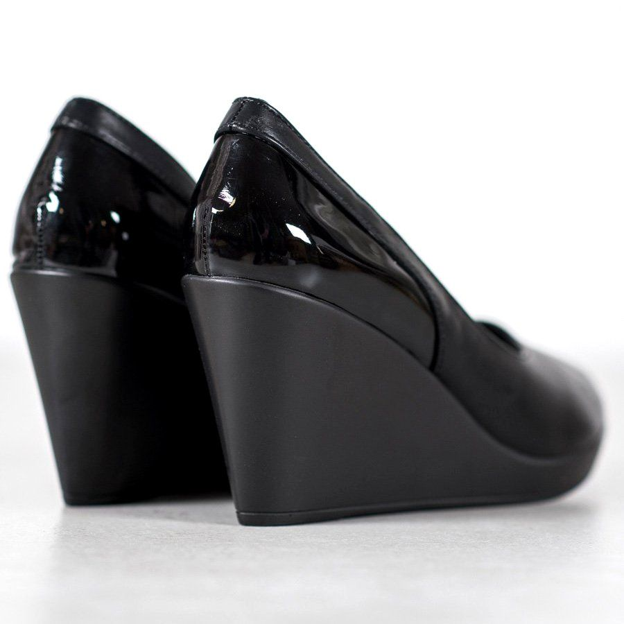 J Star Czolenka Na Koturnie Czarne Wedges Pumps Plastic Heels