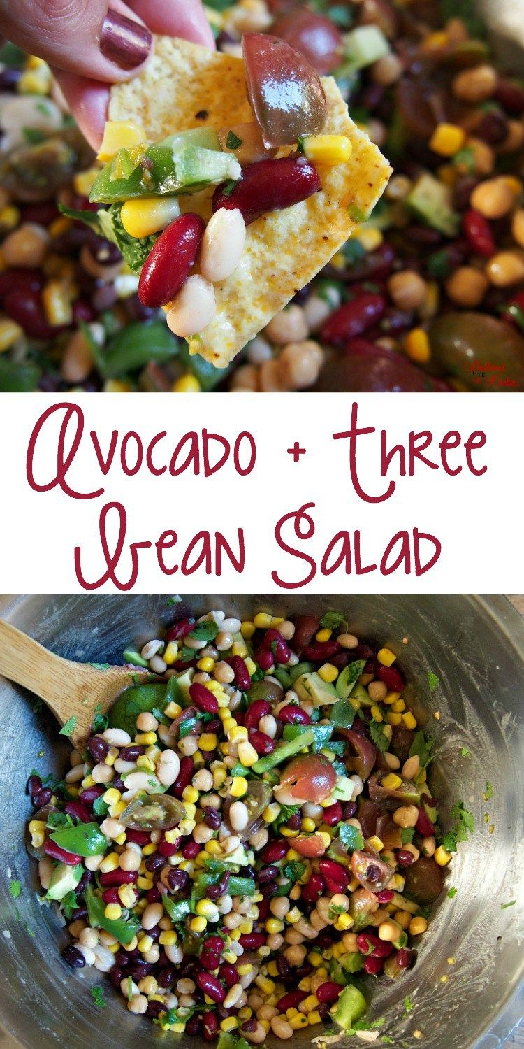 Avocado And Three Bean Salad Recipe Three Bean Salad Healthy Christmas Recipes Bean Salad