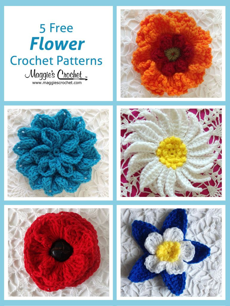Five More Free Flower Patterns : Maggie\'s Crochet Blog | Crochet ...
