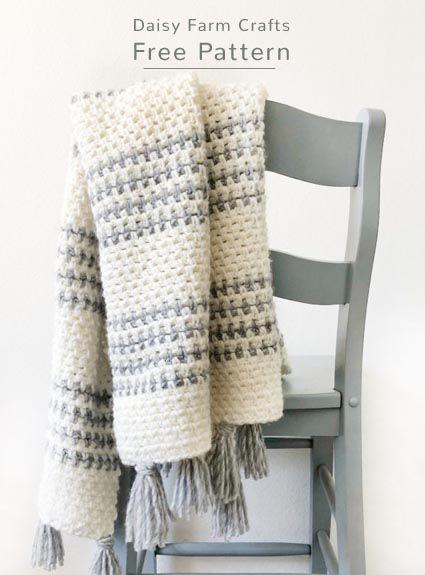 Free Crochet Pattern Striped Throw Crochet Blanket