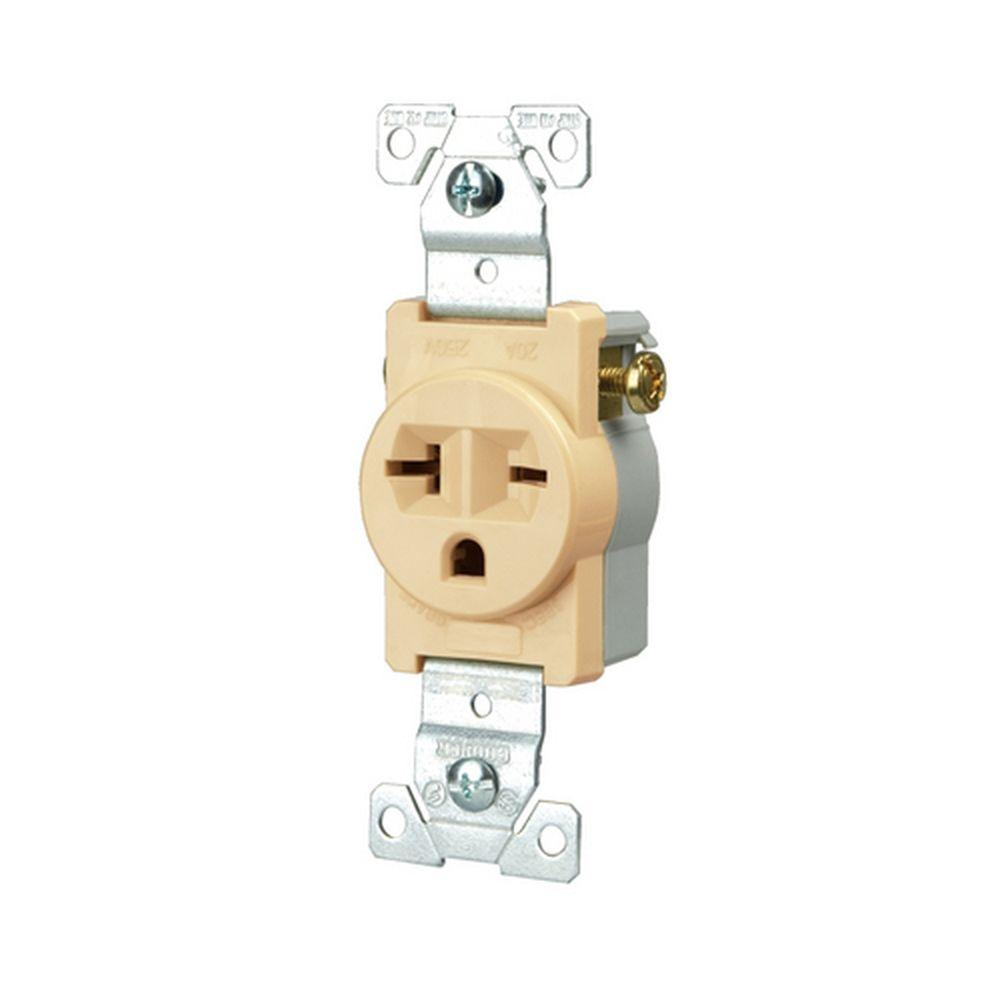 Eaton Commercial Grade 20 Amp Straight Blade Single Receptacle With Side Wiring Ivory Outlet Wiring Wire Wire Welder