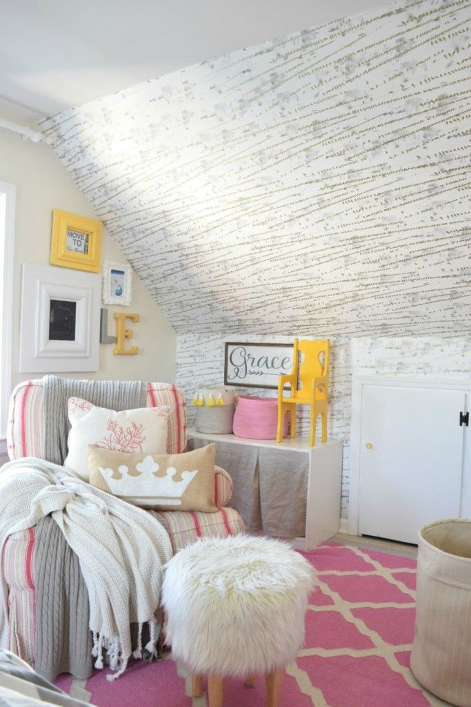 Brooke from Nesting WIth Grace chose to use Tempaper Flock when she redesigned her daughters'