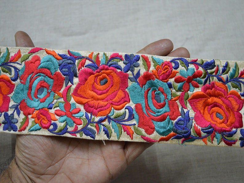 Wholesale Orange Embroidery Decorative Saree Border Floral Sari
