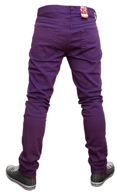 Mens skinny jeans indie emo punk rock retro new purple   Kuaz ... fb730f08cc3