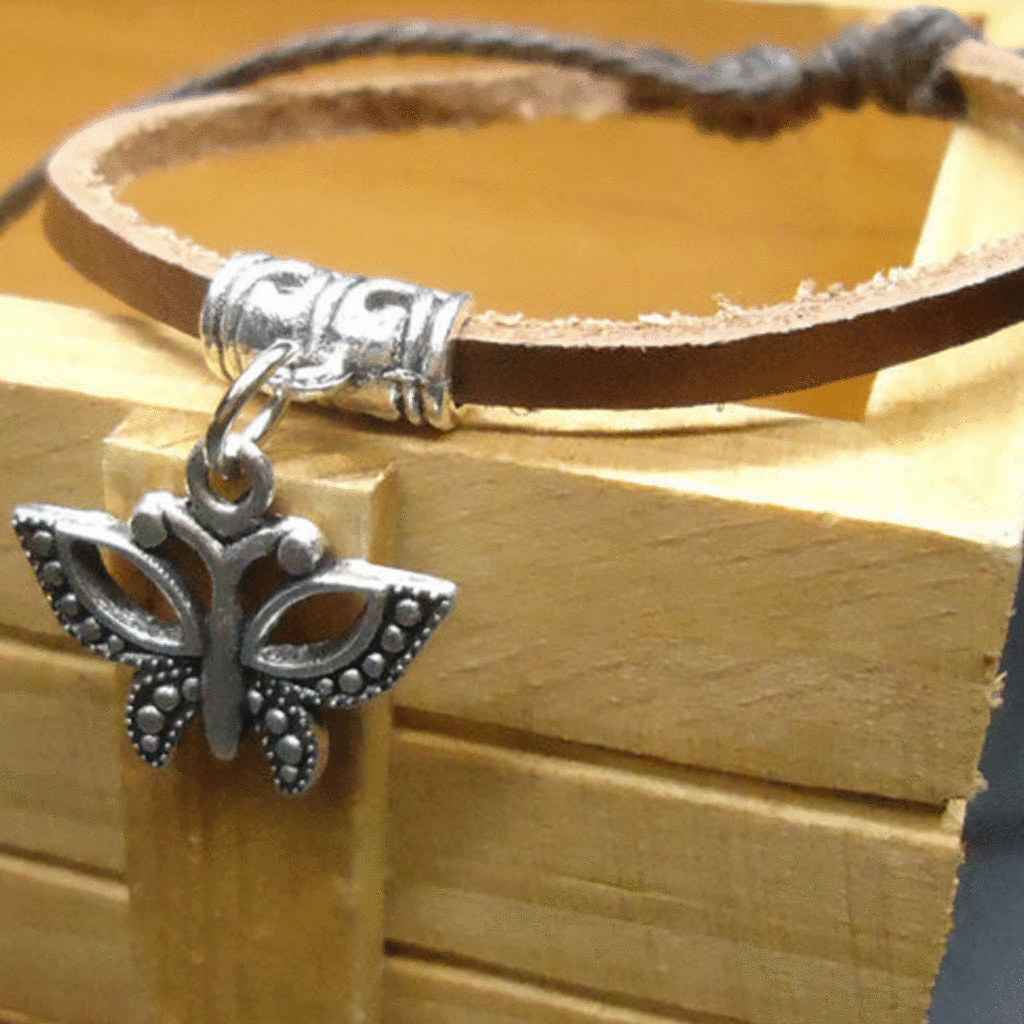 Leather Band Butterfly Bracelet