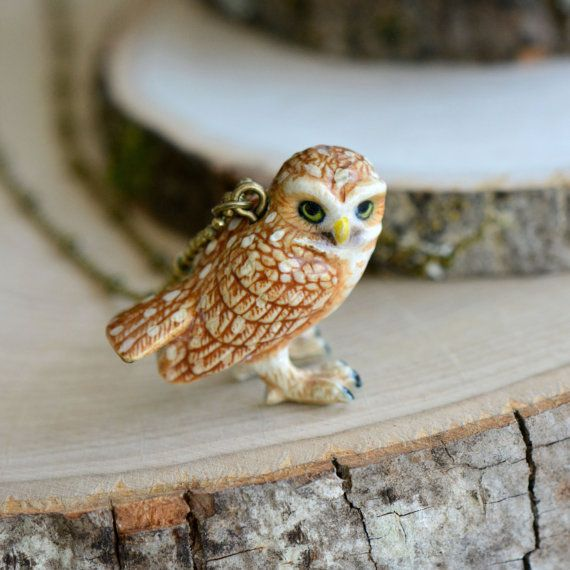 Hand Painted Porcelain Burrowing Owl Necklace by Camphollow
