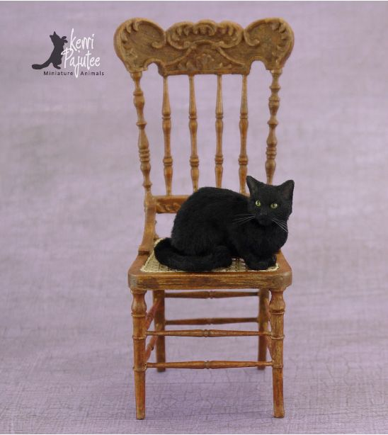 """Binx"" ~ Dollhouse Miniature Bombay cat sculpture of polyclay, wire, Genesis oils, & applied alpaca/silk fibers."