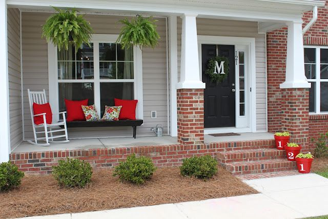 Summer Front Porch Front Porch Decorating House With Porch Red Brick House
