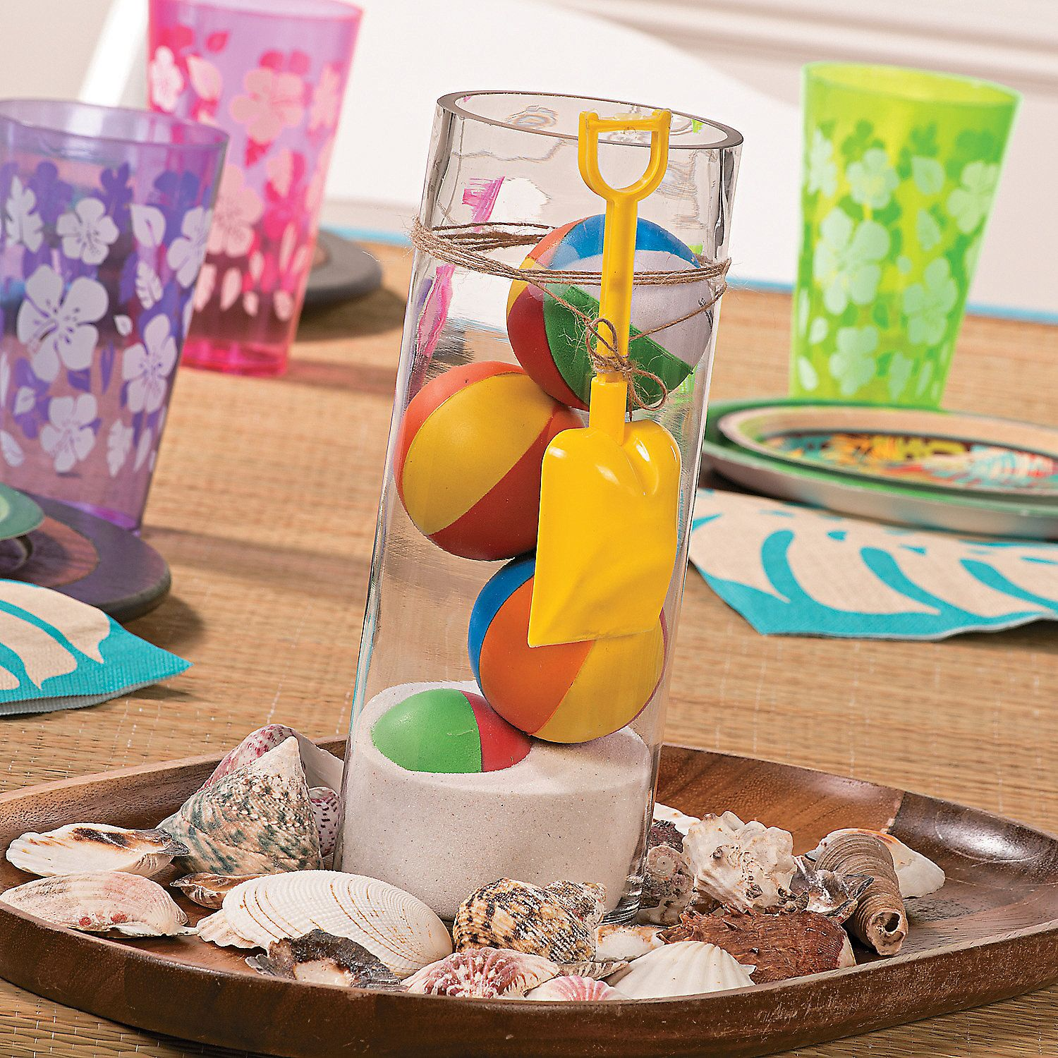 Beach ball centerpiece idea orientaltrading luau