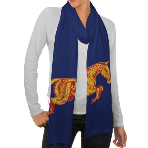 Equestrian themed scarf for the winter and fall seasons! Perfect horse lover themed accessory for the equine wardrobe and clothes! Has a colorful jumping horse artwork on it that is a great rendition of a hunter jumper. #pony #horses #ponies