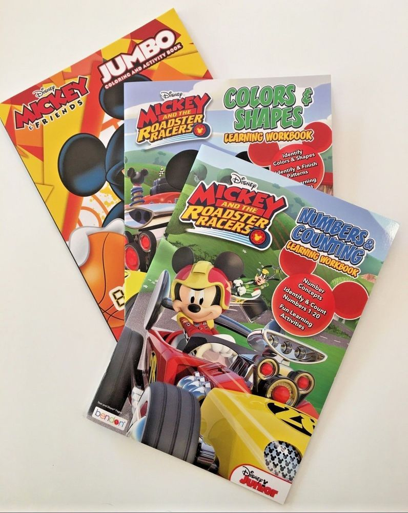 Disney Mickey Mouse Roadster Racers Childrens Learning Workbooks