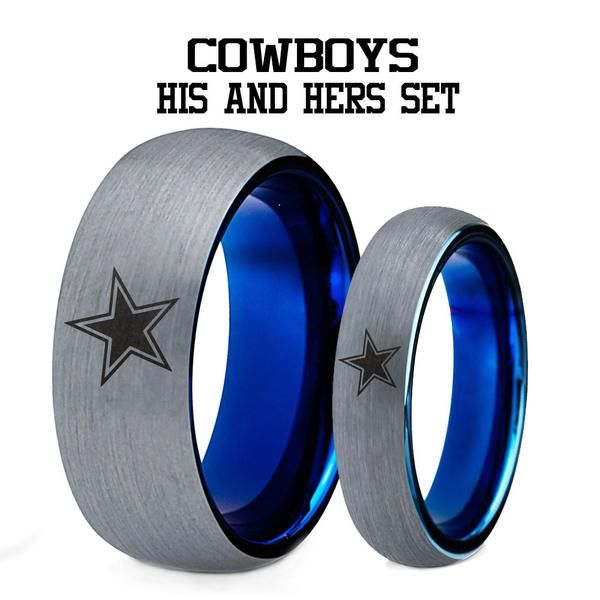 Special Christmas Sale Dallas Cowboys His And Hers Tungsten Ring Set Dallas Cowboys Rings Dallas Cowboys Wedding Dallas Cowboys Jewelry