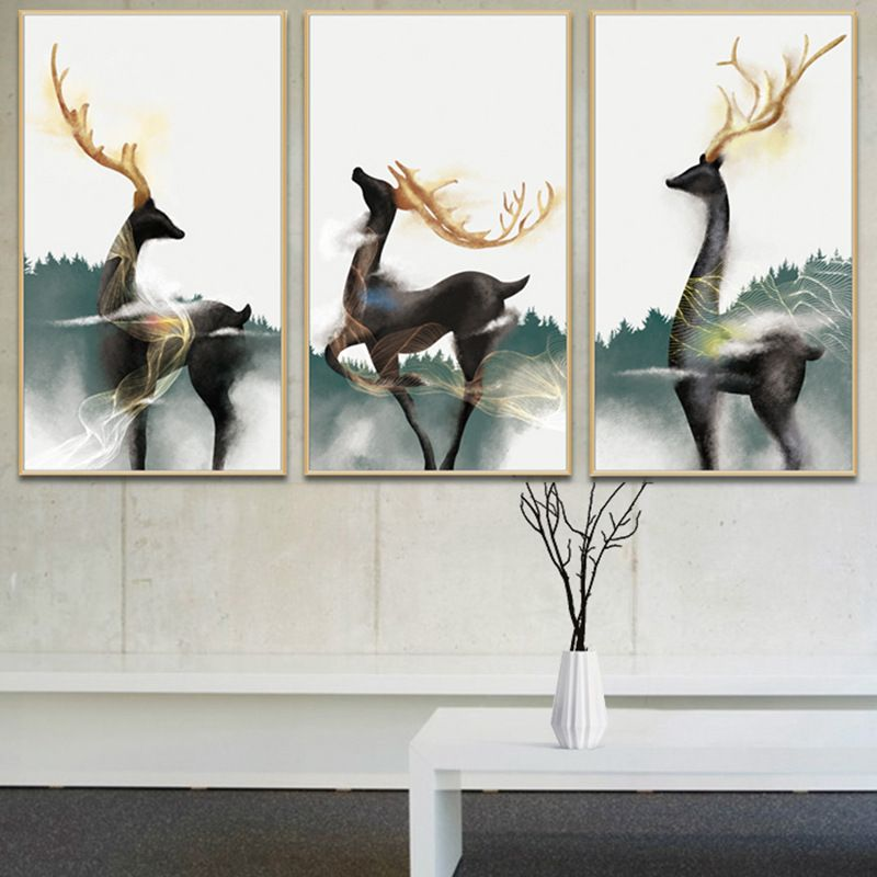 Elegant Black Gold Deer Canvas Print Diy Art Painting Abstract Art Painting Painting