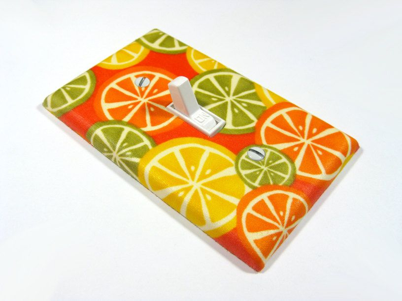 Kitchen Orange Citrus Kitsch Kitchen Decor Home Decoration Lemon Yellow Lime Green Light Switch
