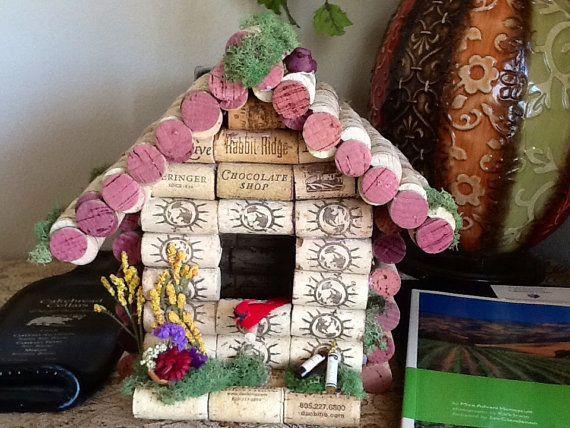Cage oiseau bouchon de vin birdhouse d coration - Bricolage avec bouchon de liege ...