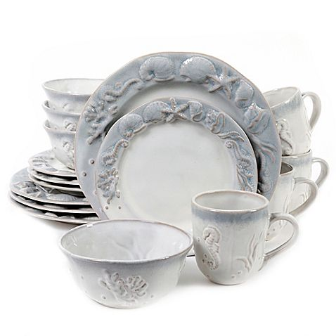 Seashore Bay 16-Piece Dinnerware Set in Cream I ADORE THIS SET!!! Nautical DishesCoastal ...  sc 1 st  Pinterest & Seashore Bay 16-Piece Dinnerware Set in Cream I ADORE THIS SET ...
