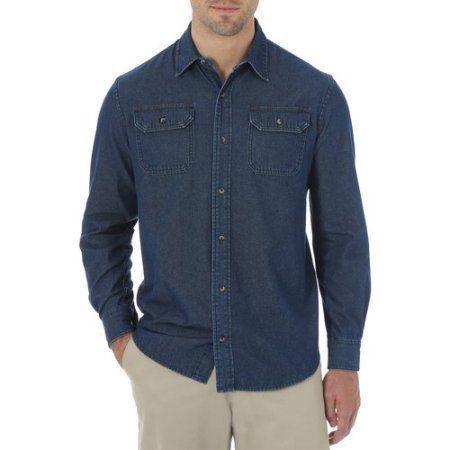 Wrangler Big Men's Long Sleeve Solid Twill Shirt, Size: 2XL, Blue