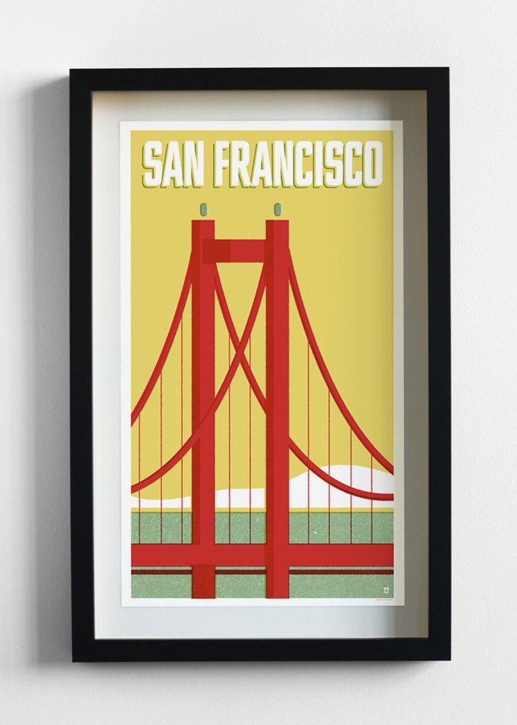 San Francisco Travel Poster Print - Pilot and Captain