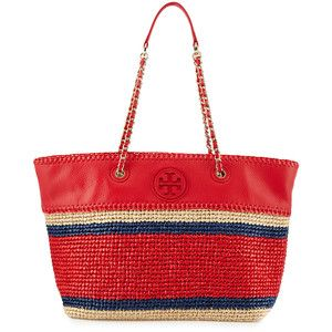Tory Burch Marion Striped Straw Tote Bag