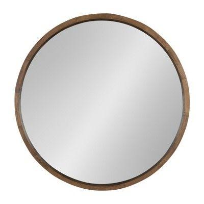 30 X 30 Hutton Round Wood Wall Mirror Rustic Brown Kate And Laurel Framed Mirror Wall Wood Wall Mirror Mirror Wall