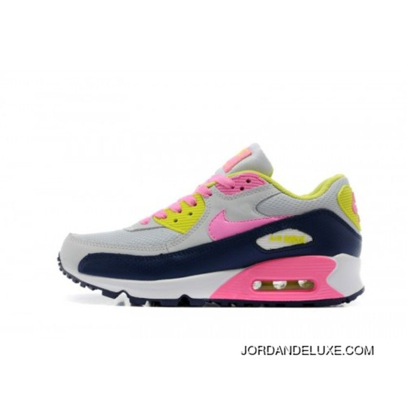 Nike Air Max 90 Leather PinkNavy BlueWhite Womens Running