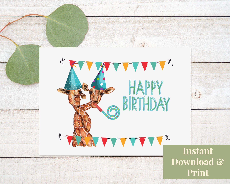 Funny Giraffe Birthday Card Happy Birthday Card Digital Etsy Happy Birthday Cards Giraffe Birthday Birthday Card Printable