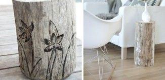 Baumstamm Tisch selber machen bemalen originelle Idee Wohnzimmer