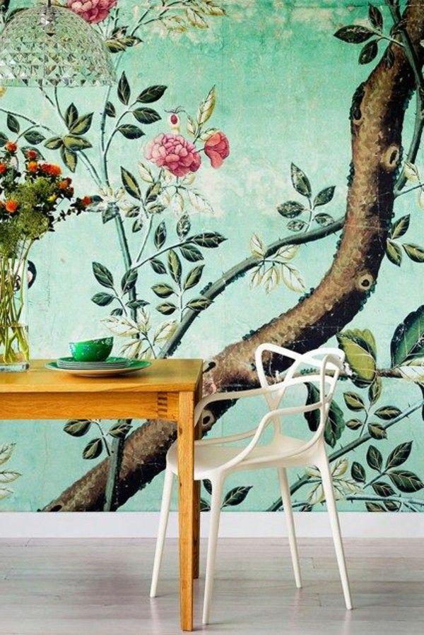 Wallpaper pattern floral elements fresh