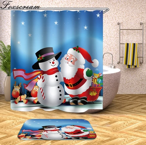Merry Christmas Bathroom Set Snowman Santa Father Bell Elk Pattern