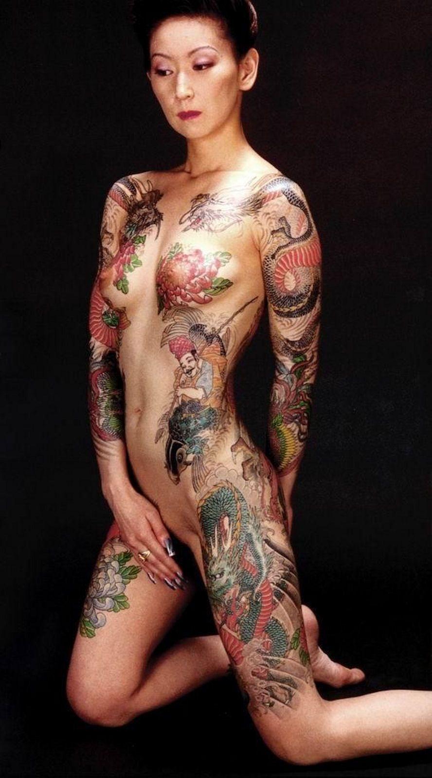 Asian girl pinup tattoo