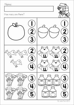 Autumn Fall Math No Prep Worksheets Activities Counting Fall Math Kindergarten Math Worksheets Preschool Math Worksheets