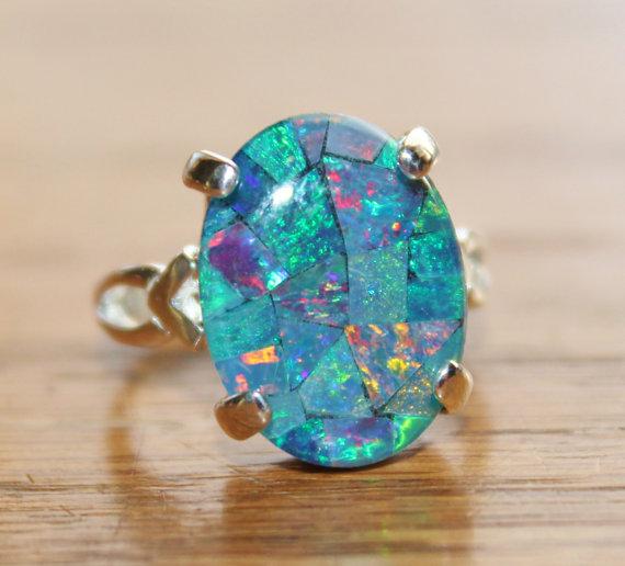 Genuine Australian Opal Ringmosaic Opal Ringsterling Etsy Opal Jewelry Australian Opal Ring Australian Opal