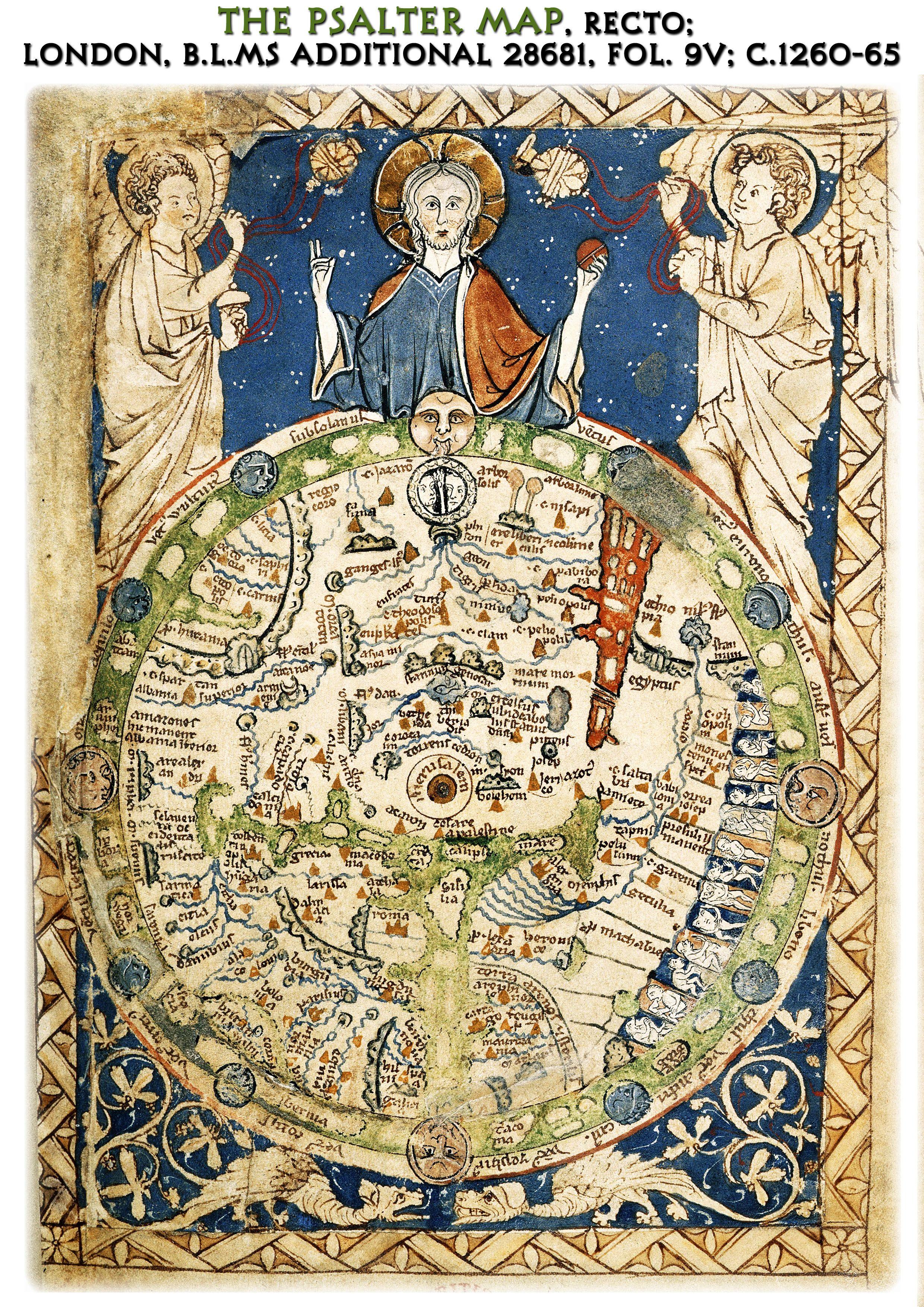 The Psalter world Map   Mappa Mundi   best quality A4 size
