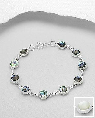 sterling silver bracelet decorated with Abalone shell and mother of pearl