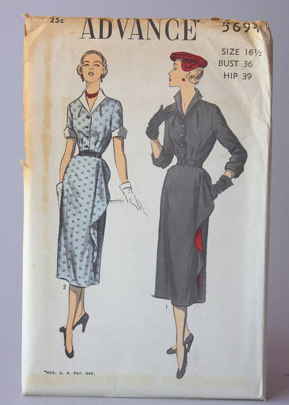 Vintage Sewing Pattern Early 1950s Uncut Factory Fold Advance