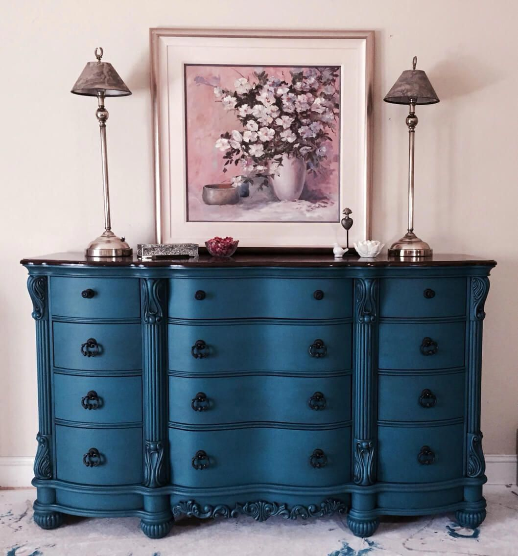Best Royal Blue Rich Repainted Bureau Dresser Bestfurniture 400 x 300