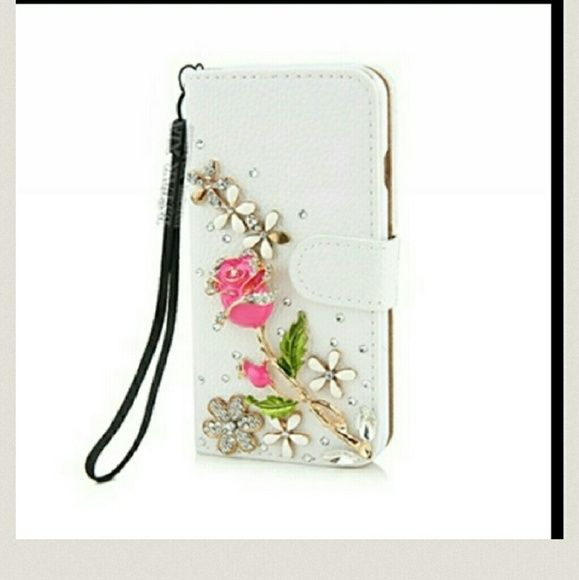Gorgeous IPhone 6 wallet case NWOT New Luxury with Swarovski Elements and rhinestone crystals? rose flower. Wallet / magnetic style, IPhone 6 case new in original packaging Accessories Phone Cases