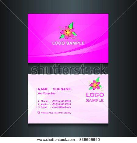 Pink Business Card Designcard Design Vector Illustrationpink Background Flower