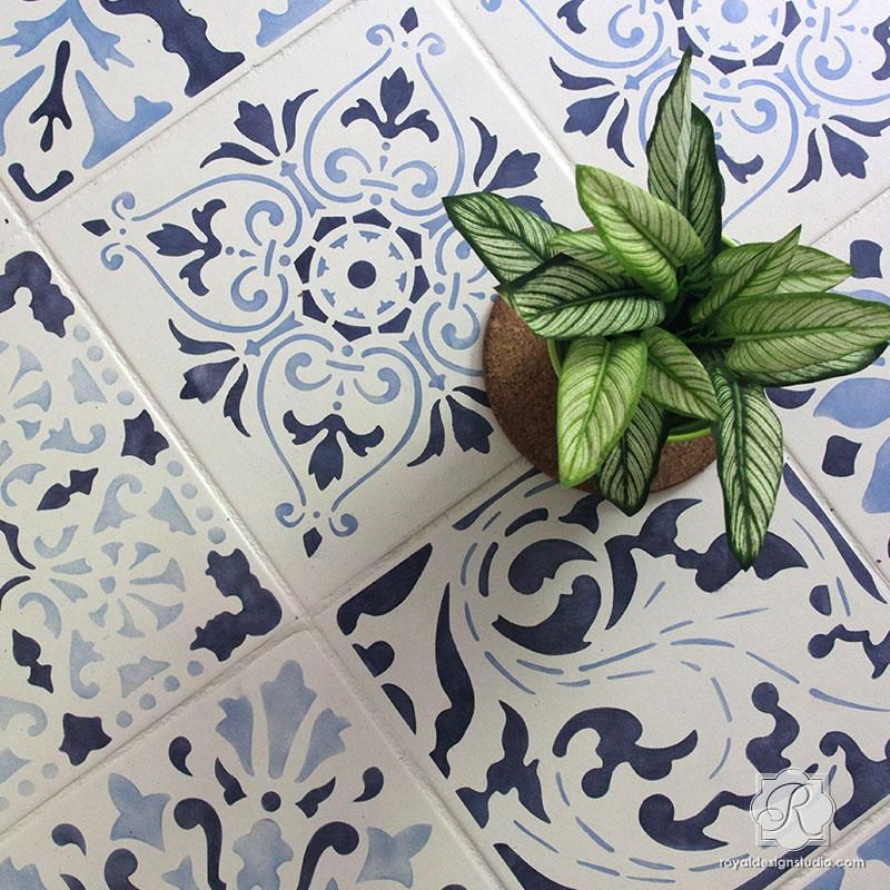 Diy Faux Handpainted Tile Ideas With Stencils Hello Lovely Tile Stencil Stenciled Floor Stencil Painting On Walls