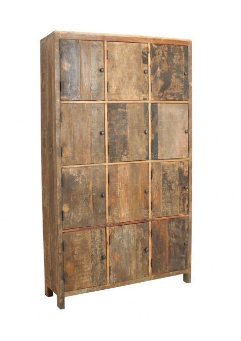 Recycled Teak Locker With 12 Doors In Neutral Wood Tones Muebles