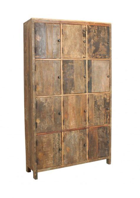 Recycled Teak Locker With 12 Doors In Neutral Wood Tones Muebles