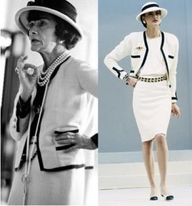 4d22382c7c5 This is Coco Chanel s 1925 iconic Classic Chanel suit. This design had  introduced the Art Deco period