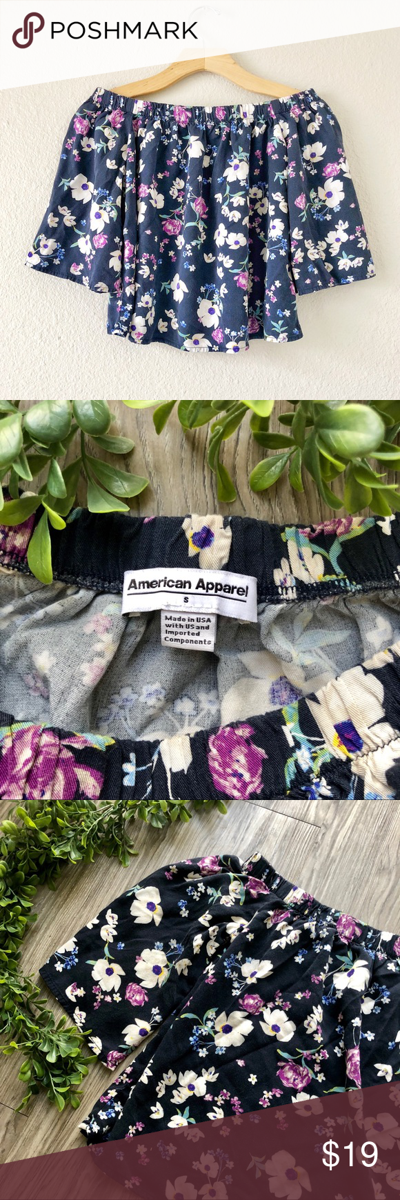 American Apparel Floral Off the Shoulder Top American Apparel Off the Shoulder Top. Floral print pattern. Pullover style, stretcher elastic around Top. Flowy sleeves and body. Lightweight, 100% viscose. EUC.'  Bust: 14.5