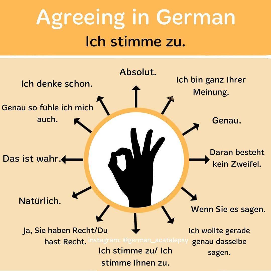 """Deutsch   آلمانی on Instagram """". موافق بودن در زبان آلمانی ..."""