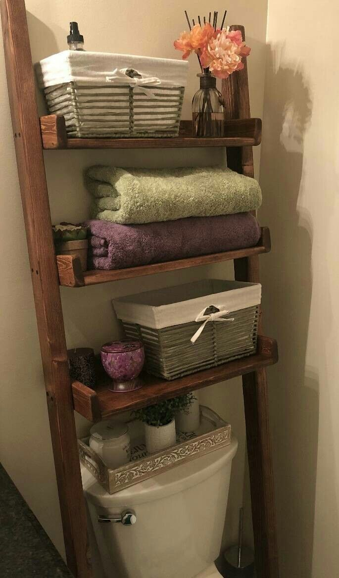 Excited To Share The Latest Addition To My #etsy Shop: Over The Toilet  Ladder Shelf, Choose Color Stain/paint, Bathroom Storage, Leaning Ladder  Shelf, ...