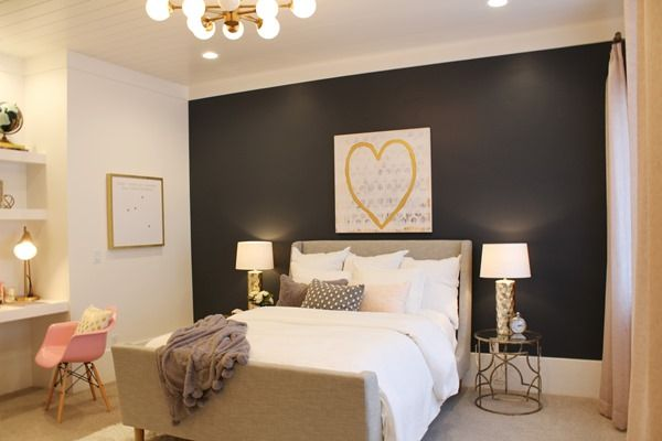 Guest Bedroom Paint Color Cyberspace Accent Wall And