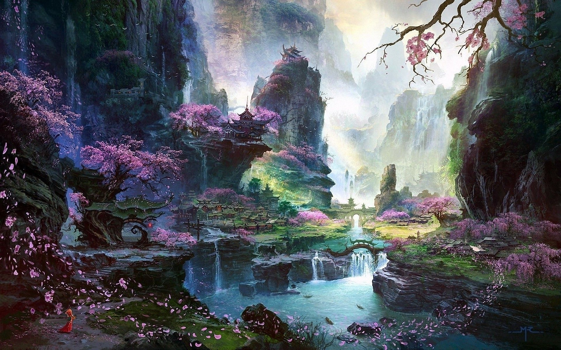 Download Hd Fantasy Art Asian Architecture Cherry Blossom Wallpapers 1920x1200 Chinese Landscape Landscape Wallpaper Waterfall Wallpaper
