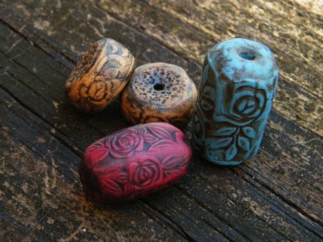 Art Jewelry Elements: Polymer Clay Silverware Textured Beads