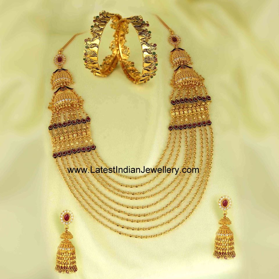 Chandra Haar Jhumkas Set   Gold bangles, Gold jewellery and Bangle